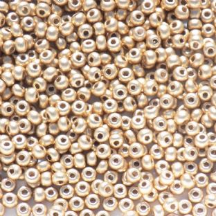 Large Pack Preciosa Czech Size 8 Glass Seed Beads. Metallic Gold Effect x 50g